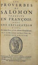 Les proverbes de Salomon - Louis-Isaac Lemaistre de Sacy