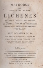 Methodus qua omnes detectos lichenes secundum organa carpomorpha ad genera, species et varietates redigere atque observationibus illustrare tentavit