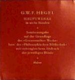 Hauptwerke in sechs Banden - Georg Wilhelm Friedrich Hegel (ISBN 9783787314331)