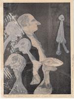 Hugo Claus - Originele tekening: Met eventeel sympathie - CLAUS, Hugo