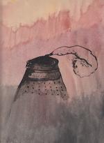 Hugo Claus - Originele aquarel [vulkaan] - CLAUS, Hugo