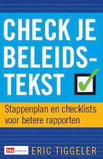 Check je beleidstekst - Everdien Tiggelaar (ISBN 9789012122955)