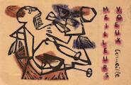 Meilleurs voeux [handcoloured linocut] - Corneille