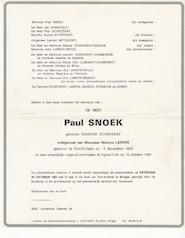 Paul Snoek rouwbrief - overlijdensbericht - SNOEK, Paul
