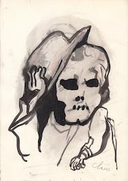 Hugo Claus - originele tekening 'Man met hoed' - CLAUS, Hugo