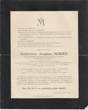 Mercier - Rouwbericht - MERCIER, Kardinaal