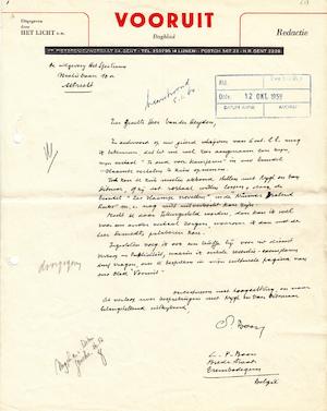 L. P. Boon - 7 handgeschreven brieven aan Van der Heyden (Het Spectrum) - BOON, Louis Paul