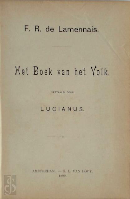 Het boek van het volk - F.R. de Lamennais, (Lucianus Vert.)
